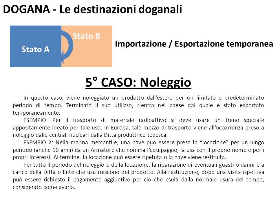 5° CASO: Noleggio DOGANA - Le destinazioni doganali Stato B Stato A