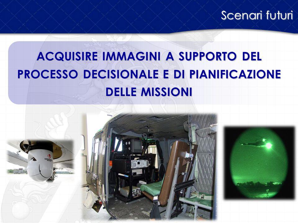 Scenari futuri acquisire immagini a supporto del processo decisionale e di pianificazione delle missioni.