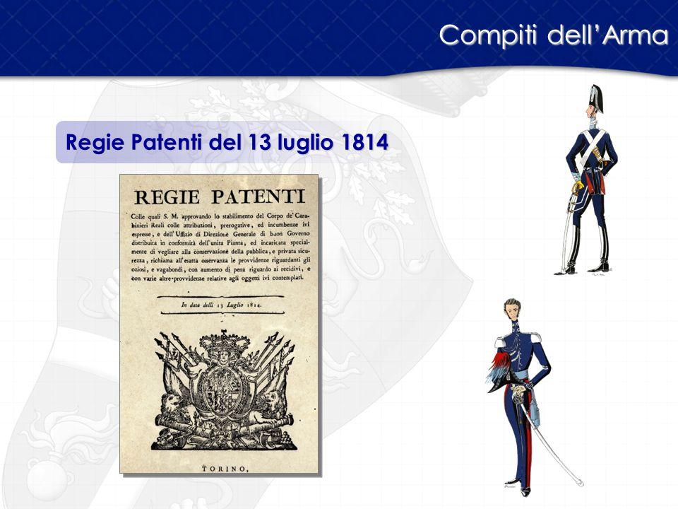 Compiti dell'Arma Regie Patenti del 13 luglio 1814