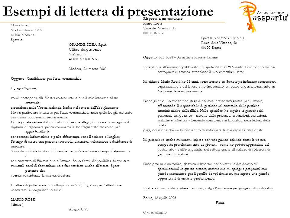 Esempi di lettera di presentazione