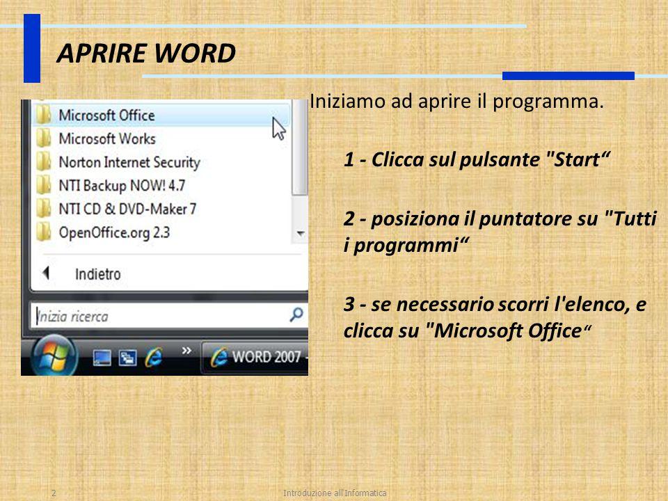 Introduzione all Informatica