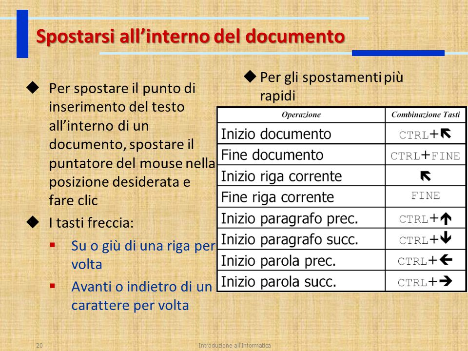 Spostarsi all'interno del documento