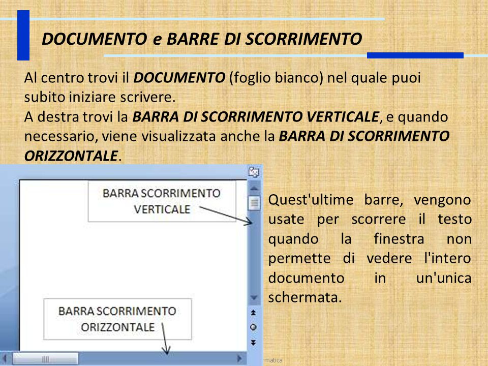 DOCUMENTO e BARRE DI SCORRIMENTO