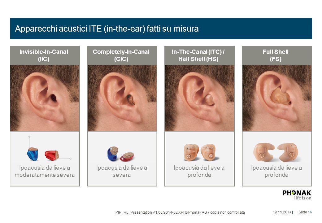 Apparecchi acustici ITE (in-the-ear) fatti su misura