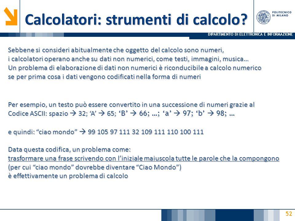 Calcolatori: strumenti di calcolo