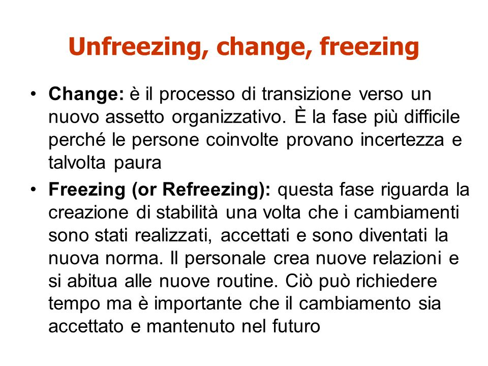 Unfreezing, change, freezing