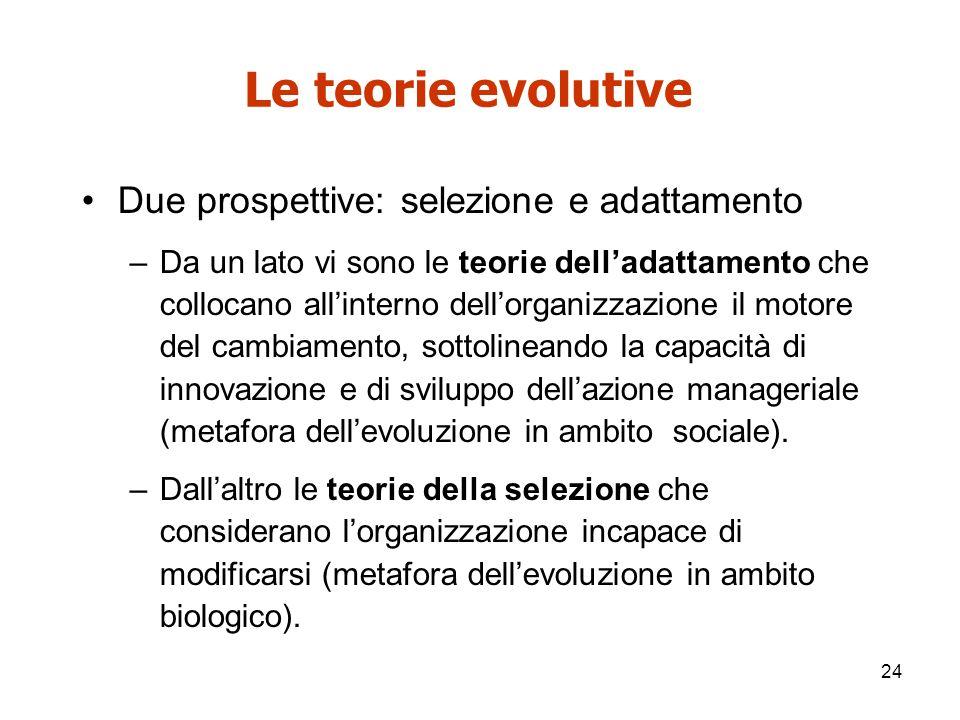 Le teorie evolutive Due prospettive: selezione e adattamento