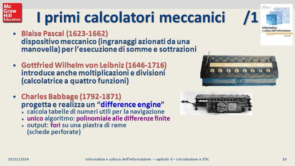 I primi calcolatori meccanici /1