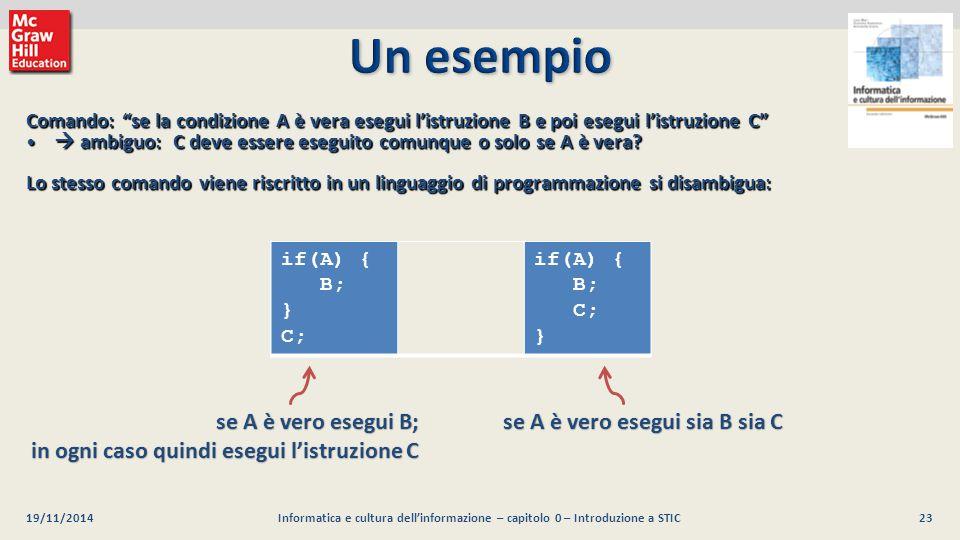 Un esempio se A è vero esegui B;