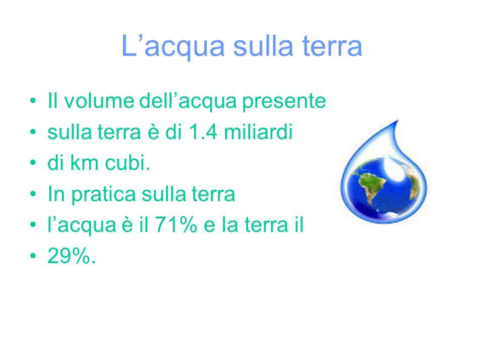 L'acqua sulla terra Il volume dell'acqua presente