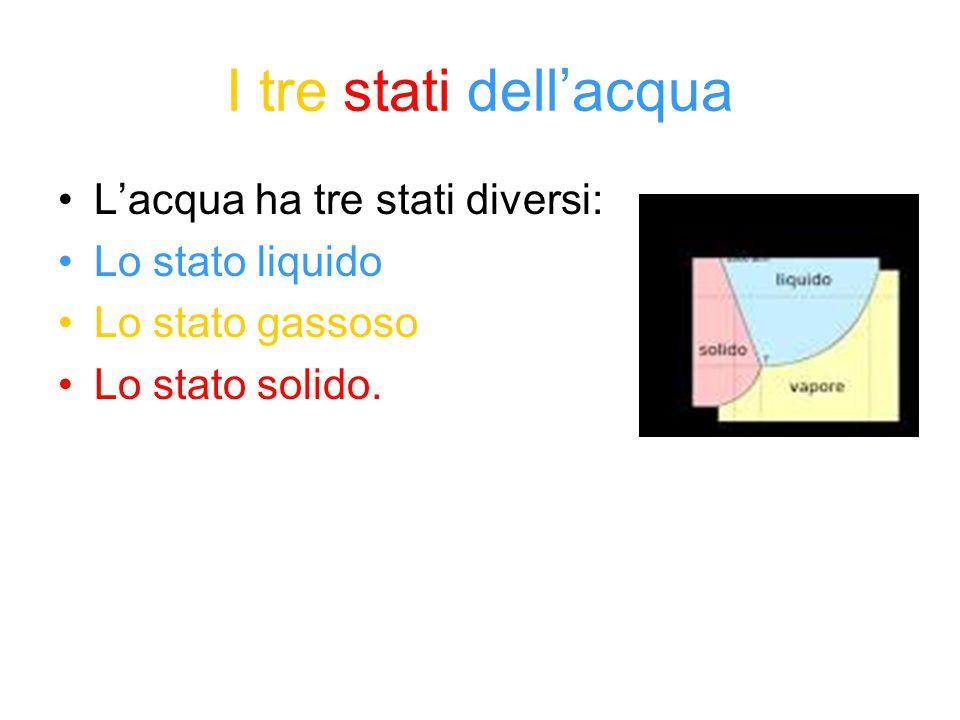 I tre stati dell'acqua L'acqua ha tre stati diversi: Lo stato liquido