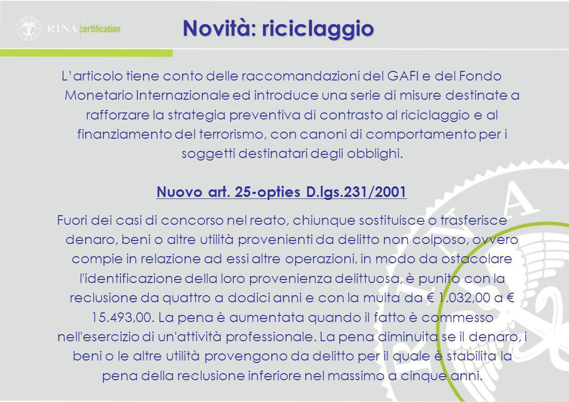 Nuovo art. 25-opties D.lgs.231/2001