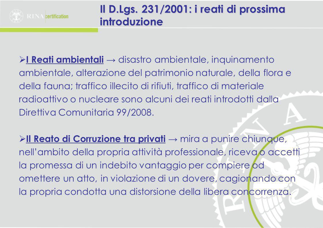 Il D.Lgs. 231/2001: i reati di prossima introduzione