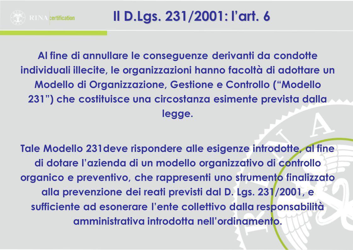 Il D.Lgs. 231/2001: l'art. 6