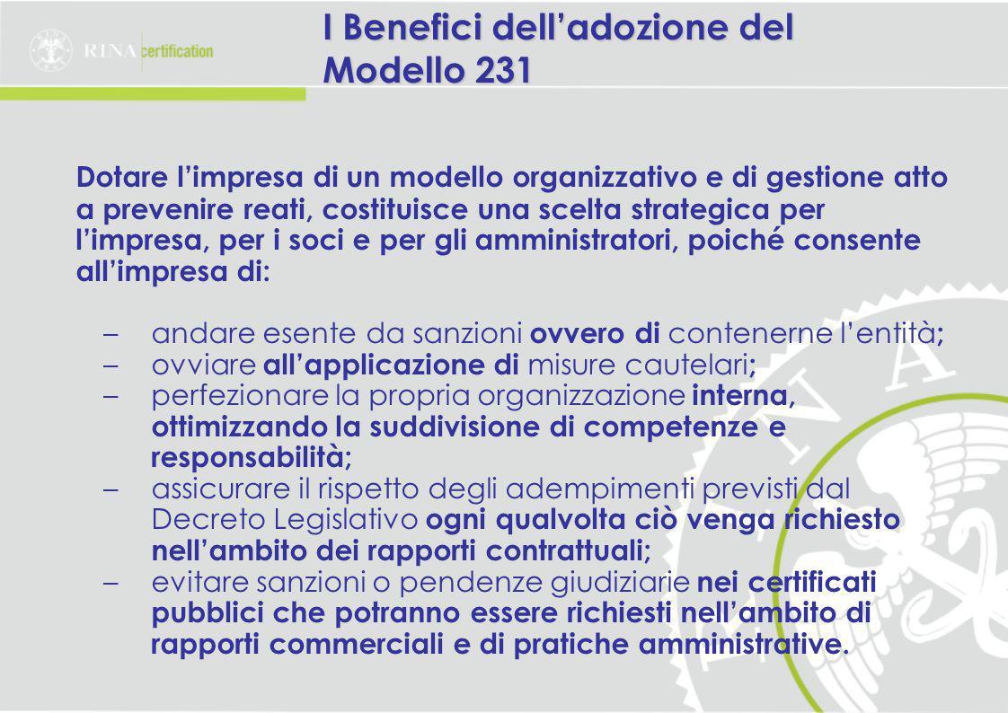 I Benefici dell'adozione del Modello 231