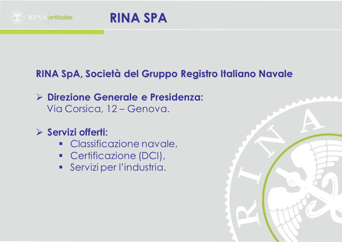 RINA SPA RINA SpA, Società del Gruppo Registro Italiano Navale