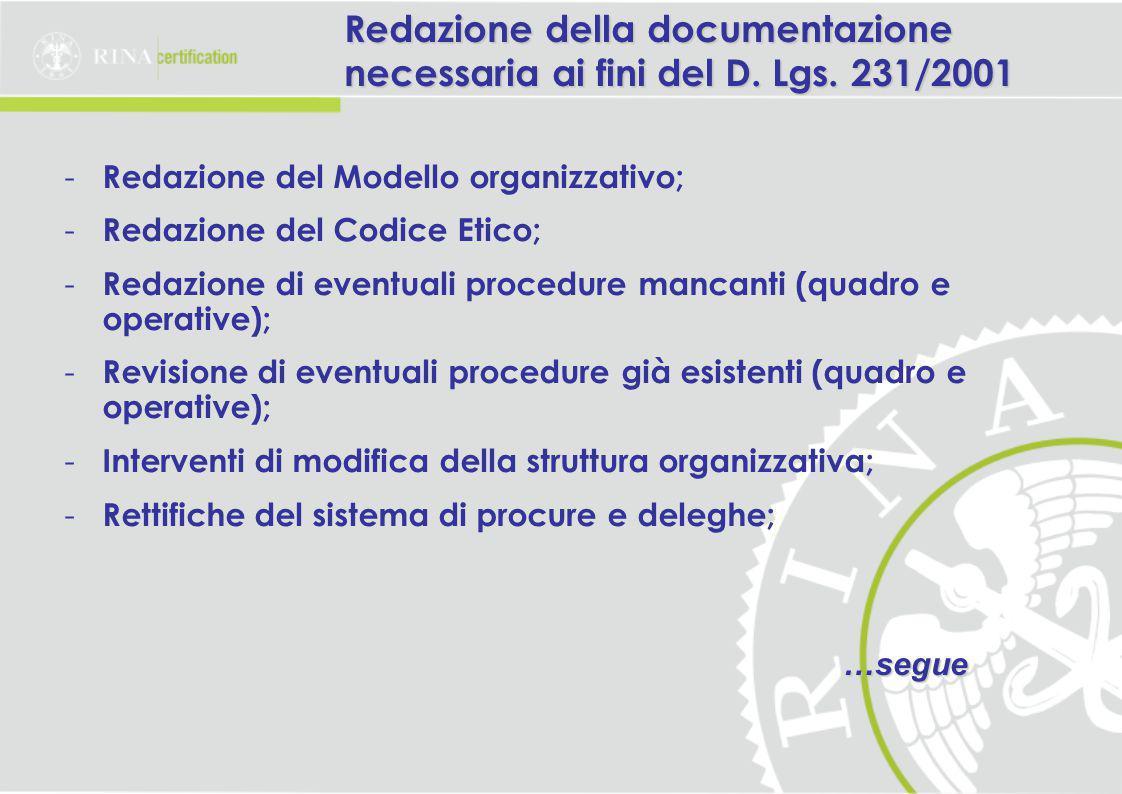 Redazione della documentazione necessaria ai fini del D. Lgs. 231/2001