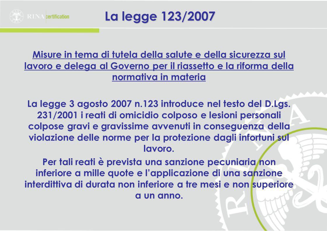 La legge 123/2007