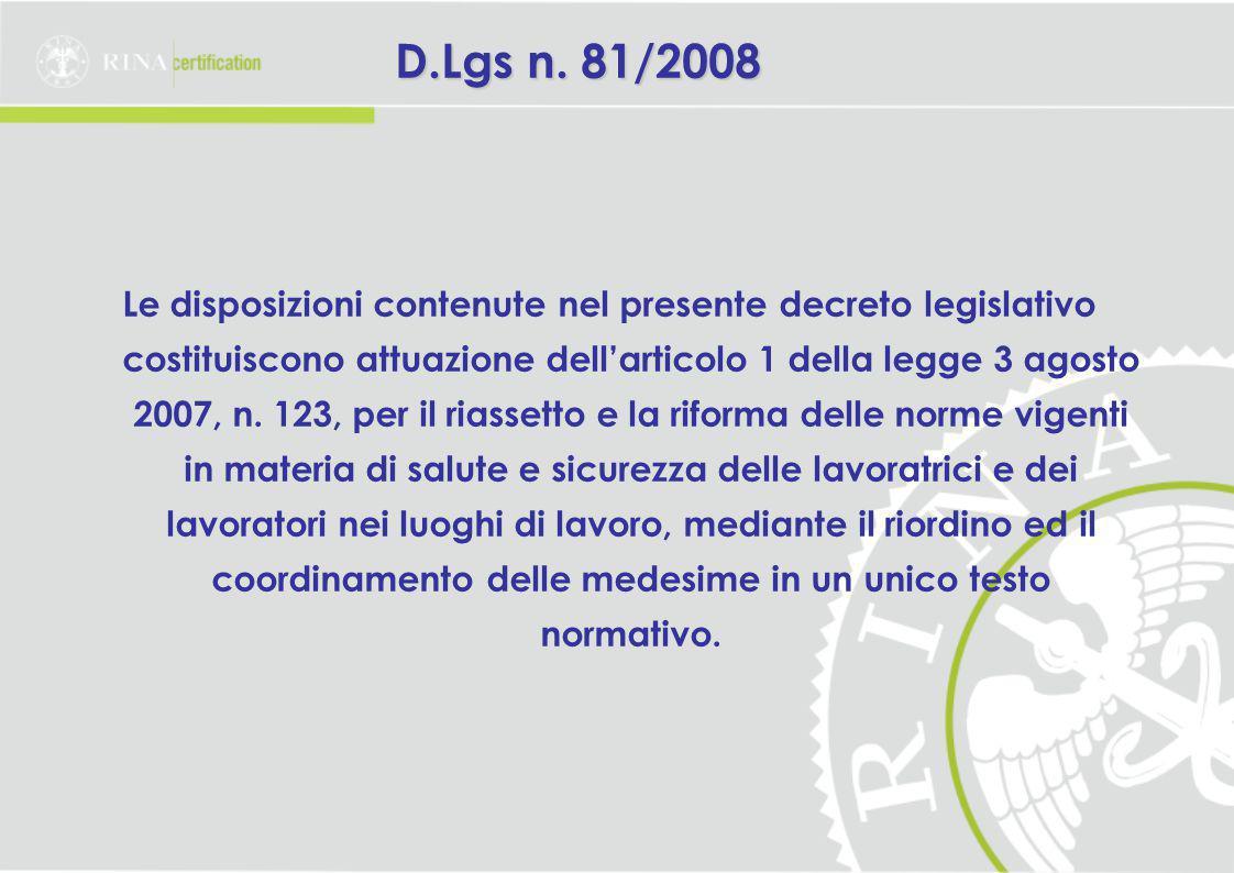 D.Lgs n. 81/2008
