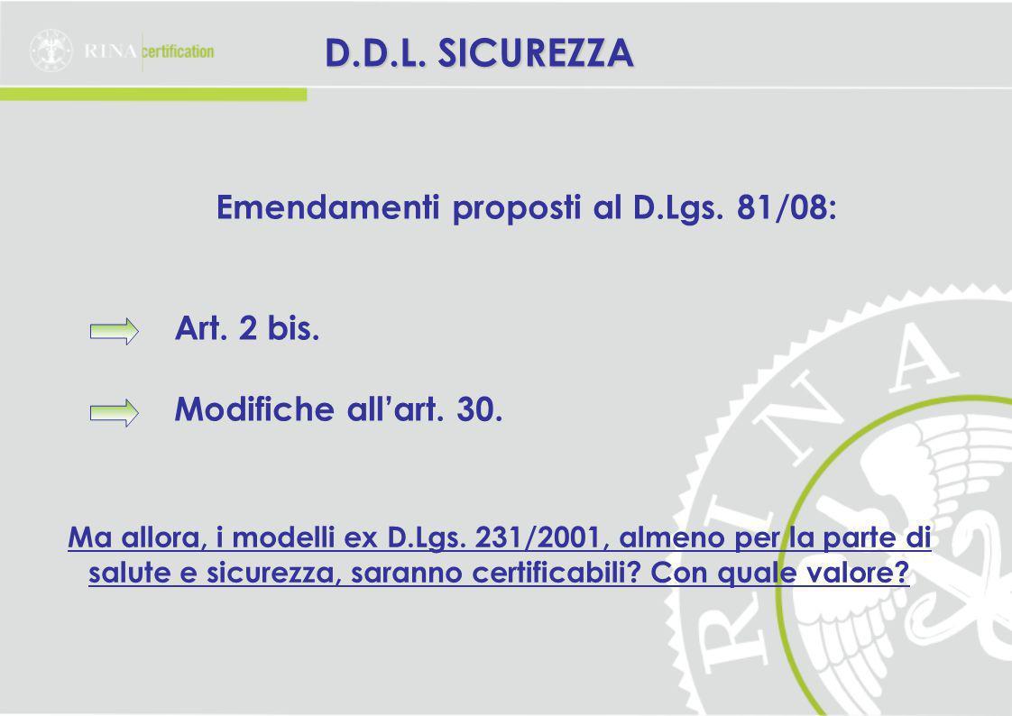 Emendamenti proposti al D.Lgs. 81/08: