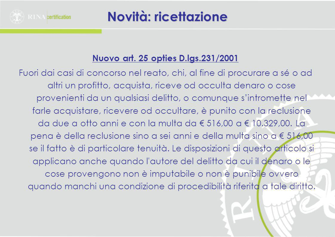 Novità: ricettazione Nuovo art. 25 opties D.lgs.231/2001