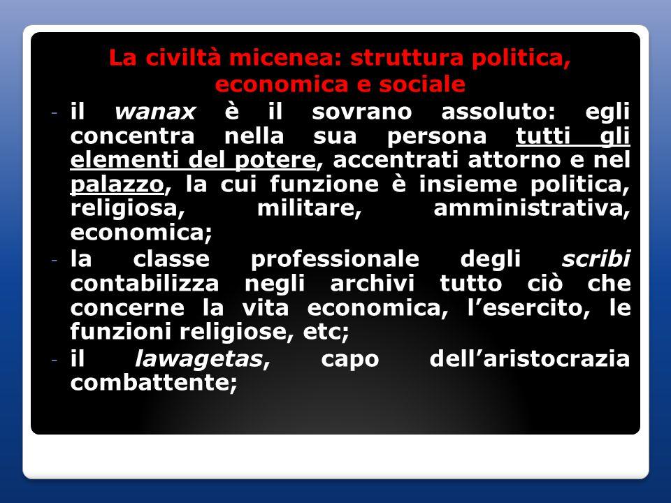 La civiltà micenea: struttura politica,
