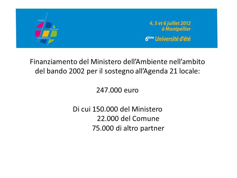 Finanziamento del Ministero dell'Ambiente nell'ambito del bando 2002 per il sostegno all'Agenda 21 locale: