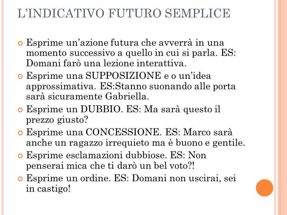 L'INDICATIVO FUTURO SEMPLICE