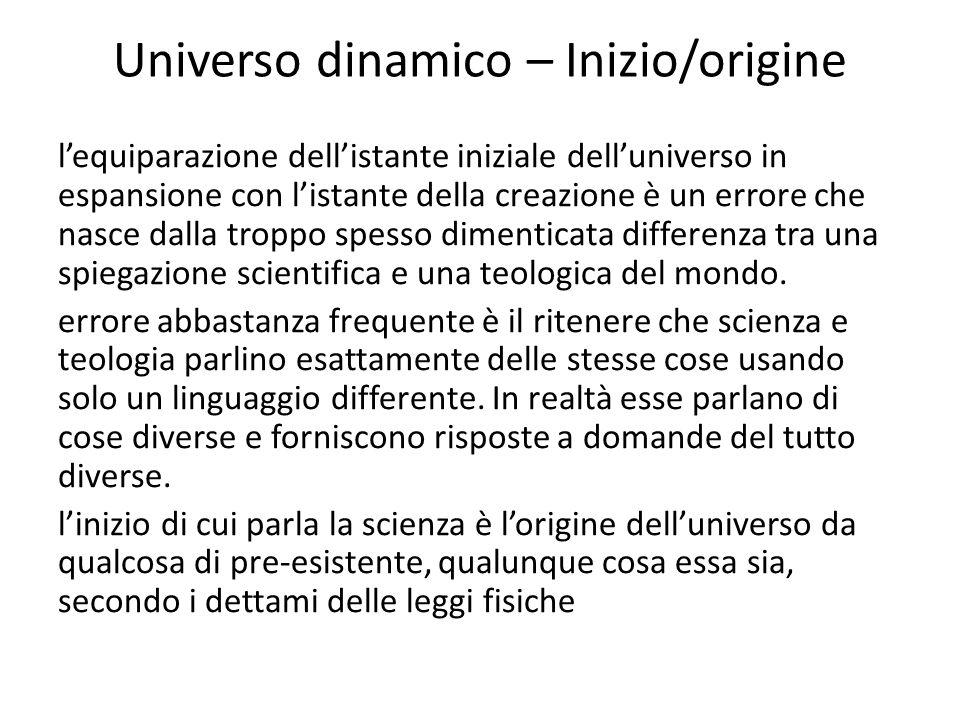 Universo dinamico – Inizio/origine