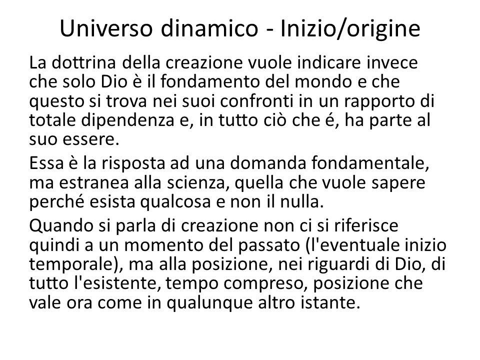 Universo dinamico - Inizio/origine