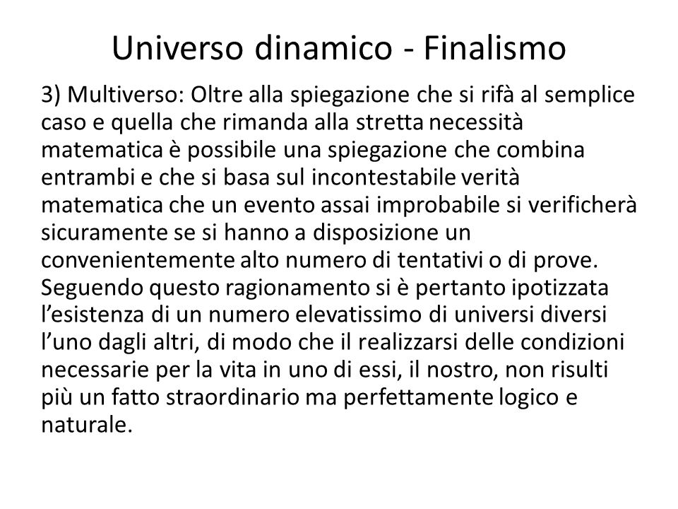 Universo dinamico - Finalismo