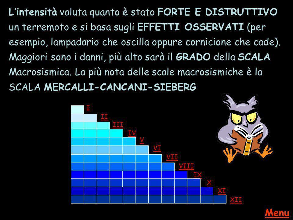 L'intensità valuta quanto è stato FORTE E DISTRUTTIVO un terremoto e si basa sugli EFFETTI OSSERVATI (per esempio, lampadario che oscilla oppure cornicione che cade). Maggiori sono i danni, più alto sarà il GRADO della SCALA Macrosismica. La più nota delle scale macrosismiche è la SCALA MERCALLI-CANCANI-SIEBERG