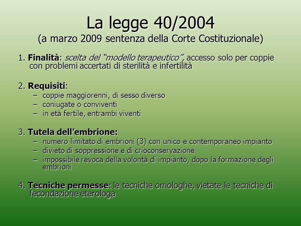 La legge 40/2004 (a marzo 2009 sentenza della Corte Costituzionale)