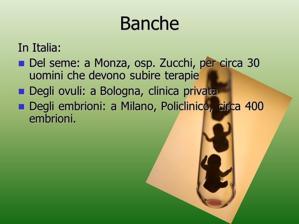 Banche In Italia: Del seme: a Monza, osp. Zucchi, per circa 30 uomini che devono subire terapie. Degli ovuli: a Bologna, clinica privata.