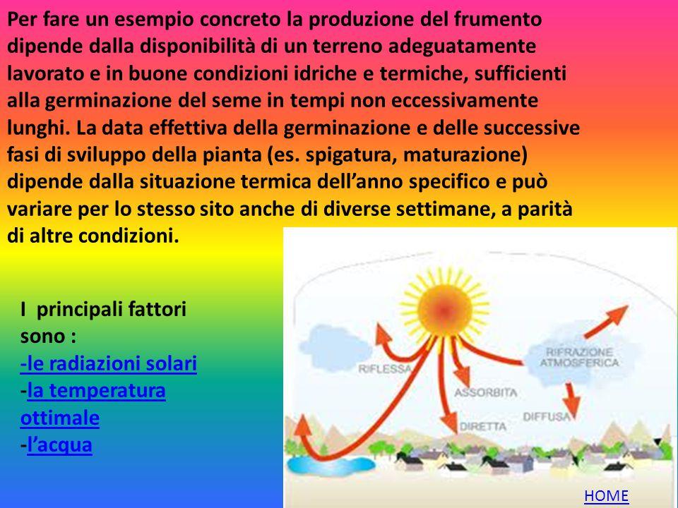 I principali fattori sono : -le radiazioni solari