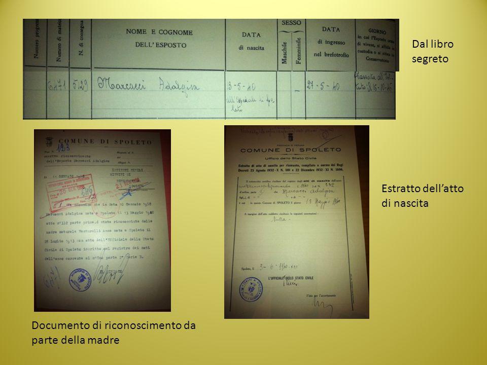 Dal libro segreto Estratto dell'atto di nascita Documento di riconoscimento da parte della madre
