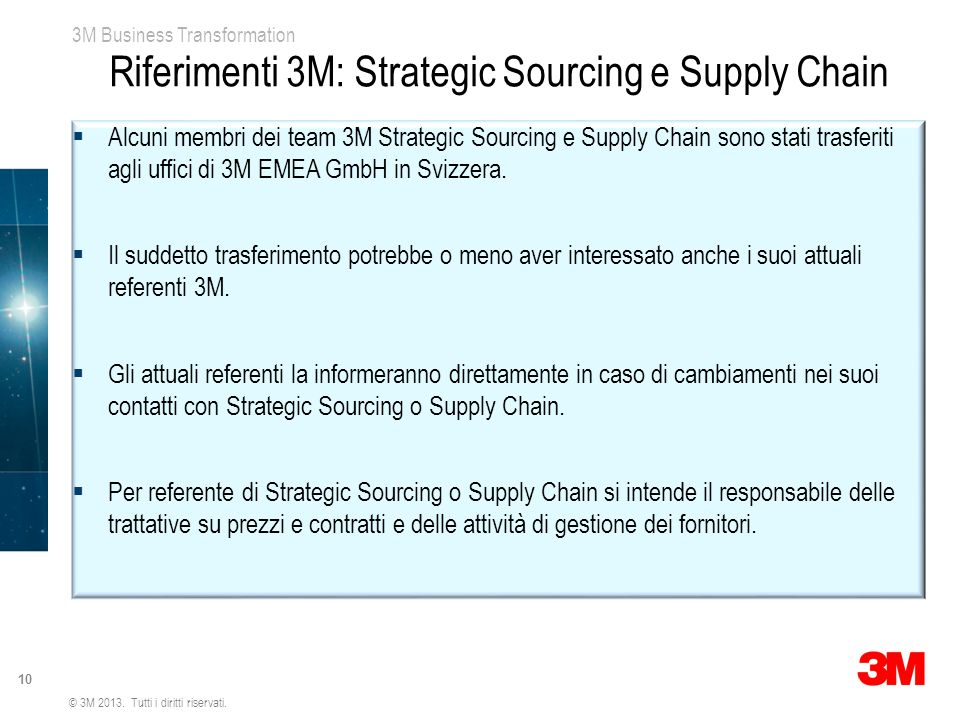 Riferimenti 3M: Strategic Sourcing e Supply Chain