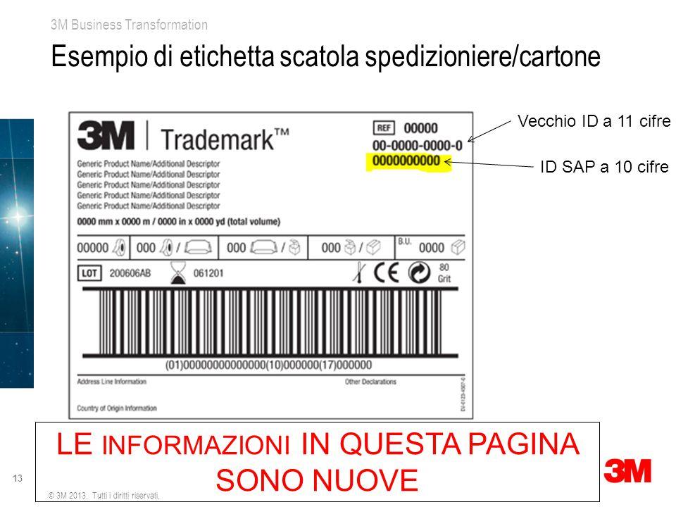 Esempio di etichetta scatola spedizioniere/cartone
