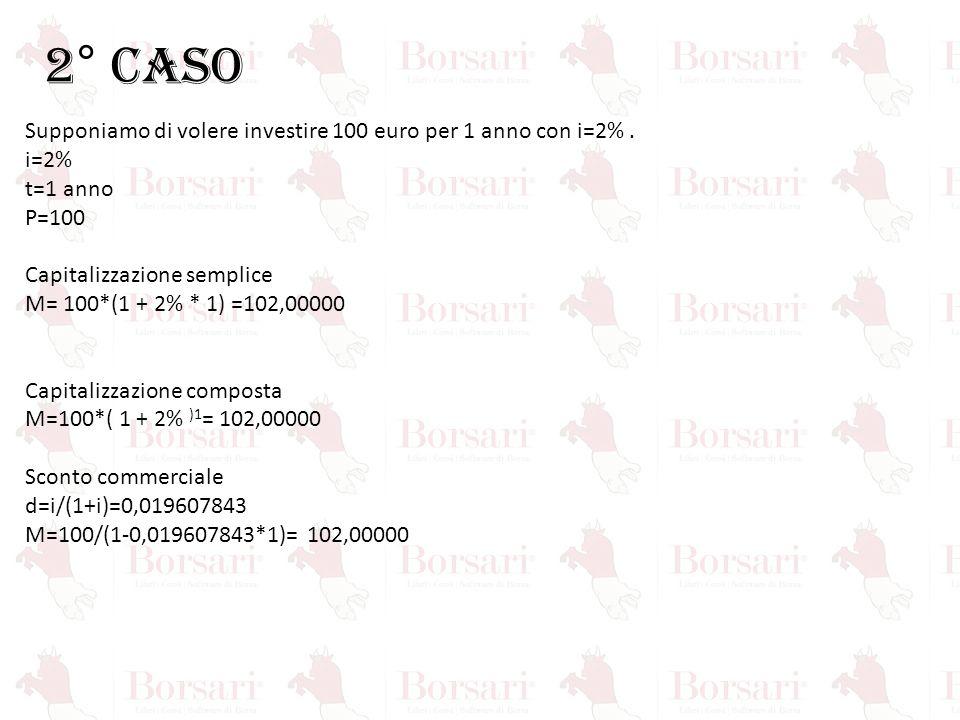 2° CASO Supponiamo di volere investire 100 euro per 1 anno con i=2% .