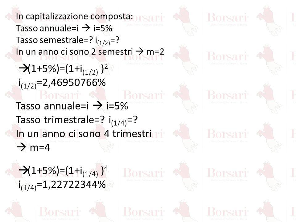 Tasso trimestrale= i(1/4)= In un anno ci sono 4 trimestri  m=4