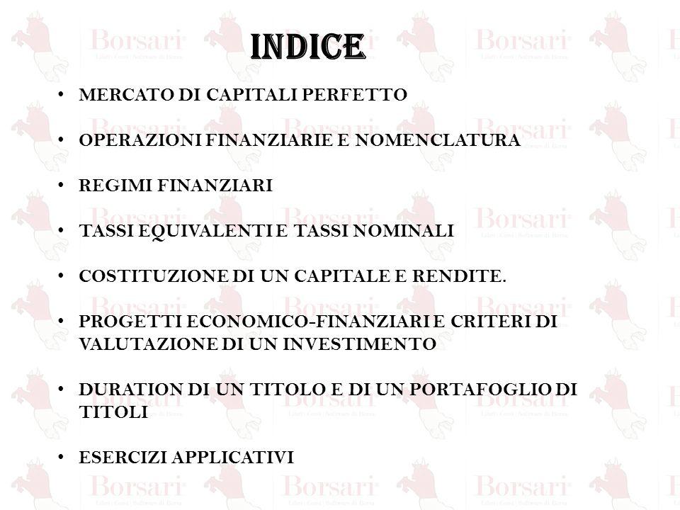 INDICE MERCATO DI CAPITALI PERFETTO