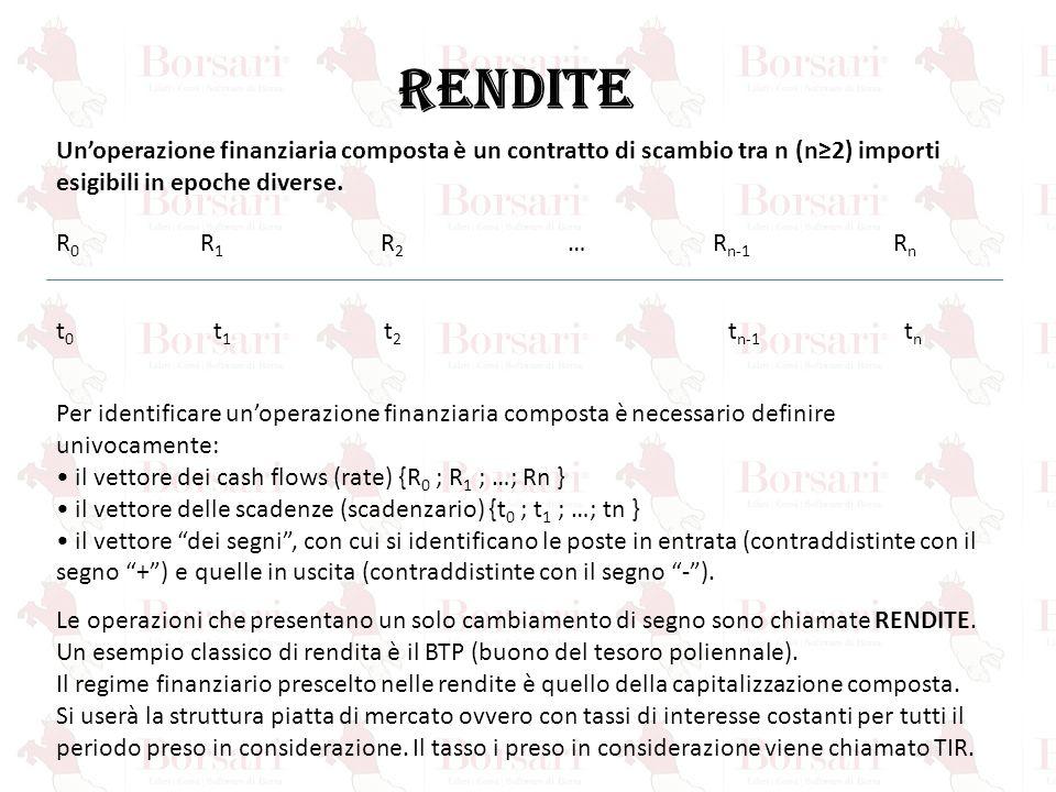 RENDITE Un'operazione finanziaria composta è un contratto di scambio tra n (n≥2) importi esigibili in epoche diverse.