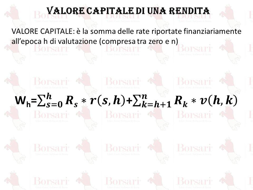 VALORE CAPITALE DI UNA RENDITA Wh= 𝒔=𝟎 𝒉 𝑹𝒔∗𝒓 𝒔,𝒉 + 𝒌=𝒉+𝟏 𝒏 𝑹𝒌∗𝒗 𝒉,𝒌