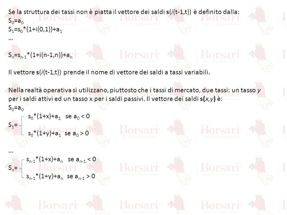 Se la struttura dei tassi non è piatta il vettore dei saldi s(i(t-1,t)) è definito dalla: