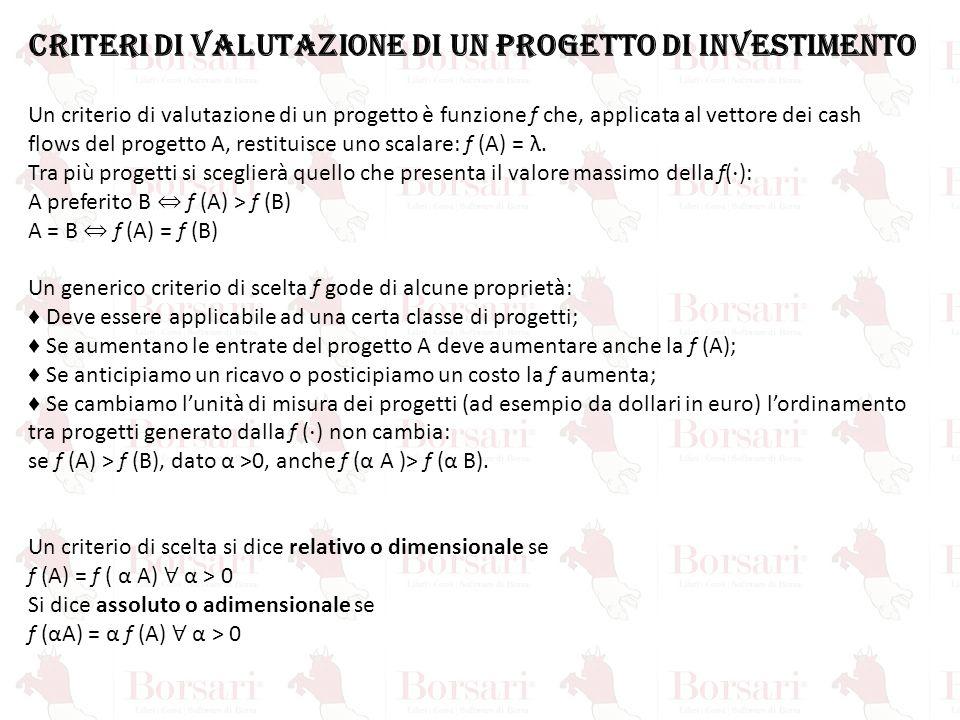 CRITERI DI VALUTAZIONE DI UN PROGETTO DI INVESTIMENTO