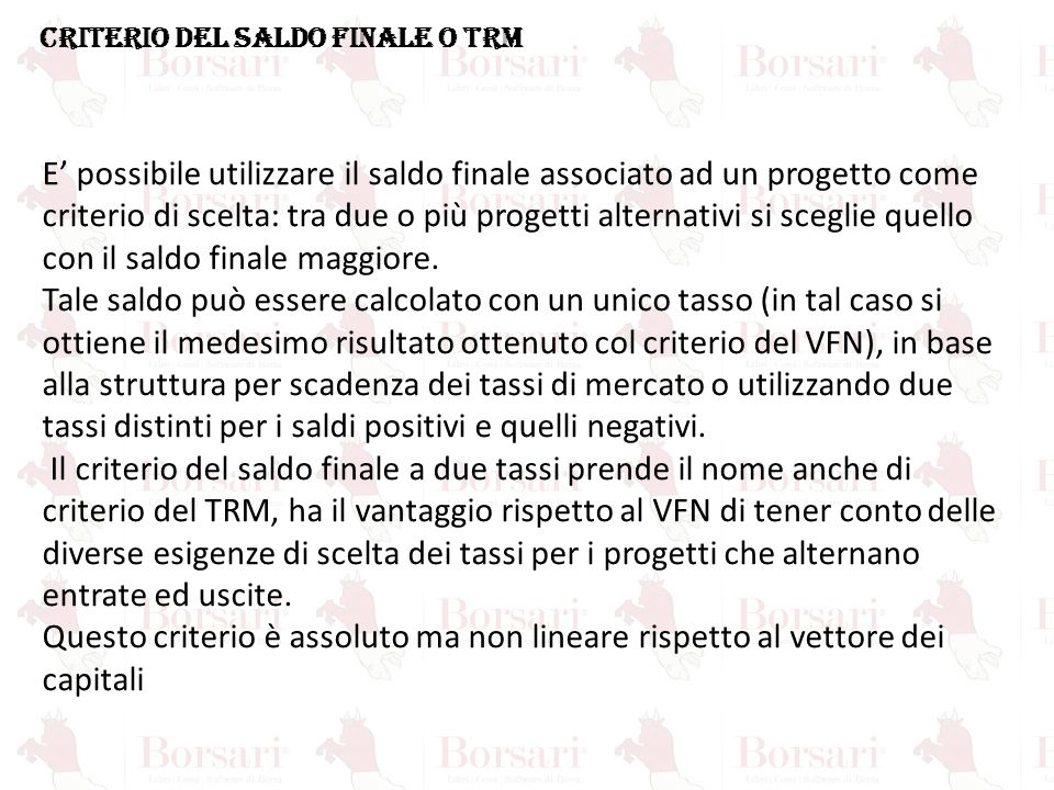 CRITERIO DEL SALDO FINALE O TRM