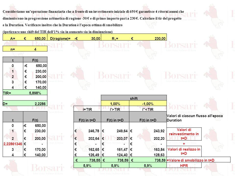 Valori di reinvestimento in t=D Valori di realizzo in t=D