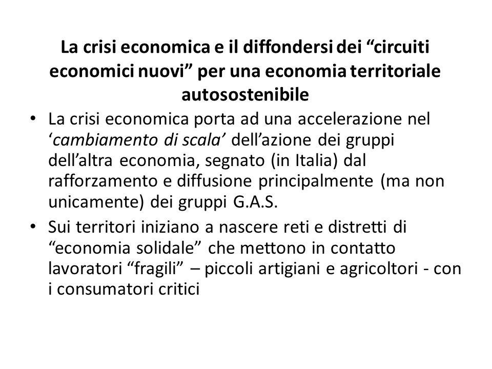 La crisi economica e il diffondersi dei circuiti economici nuovi per una economia territoriale autosostenibile