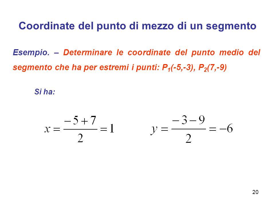 Coordinate del punto di mezzo di un segmento