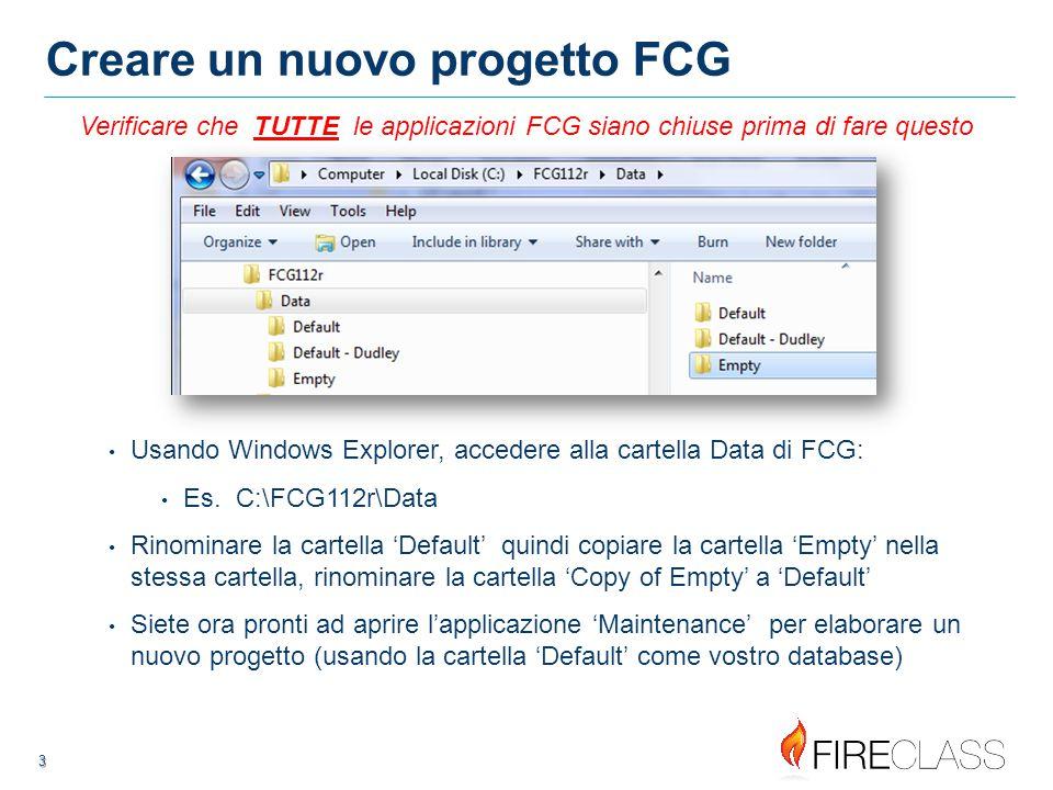 Creare un nuovo progetto FCG
